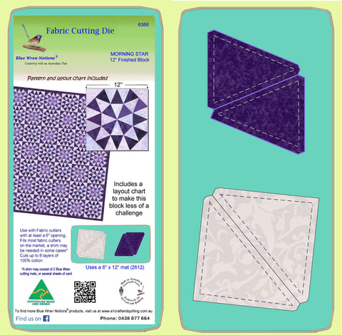 "Morning Star - 6366 - makes a 12"" finished block - For smaller cutters -Pattern, design layout and mat included"