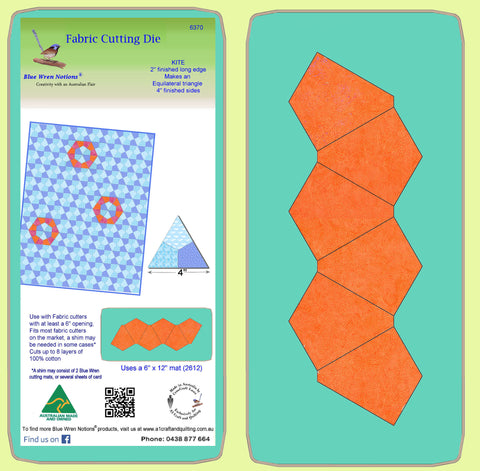 "Kite 2"" finished long, makes equilateral triangles - 6370 - mat included"