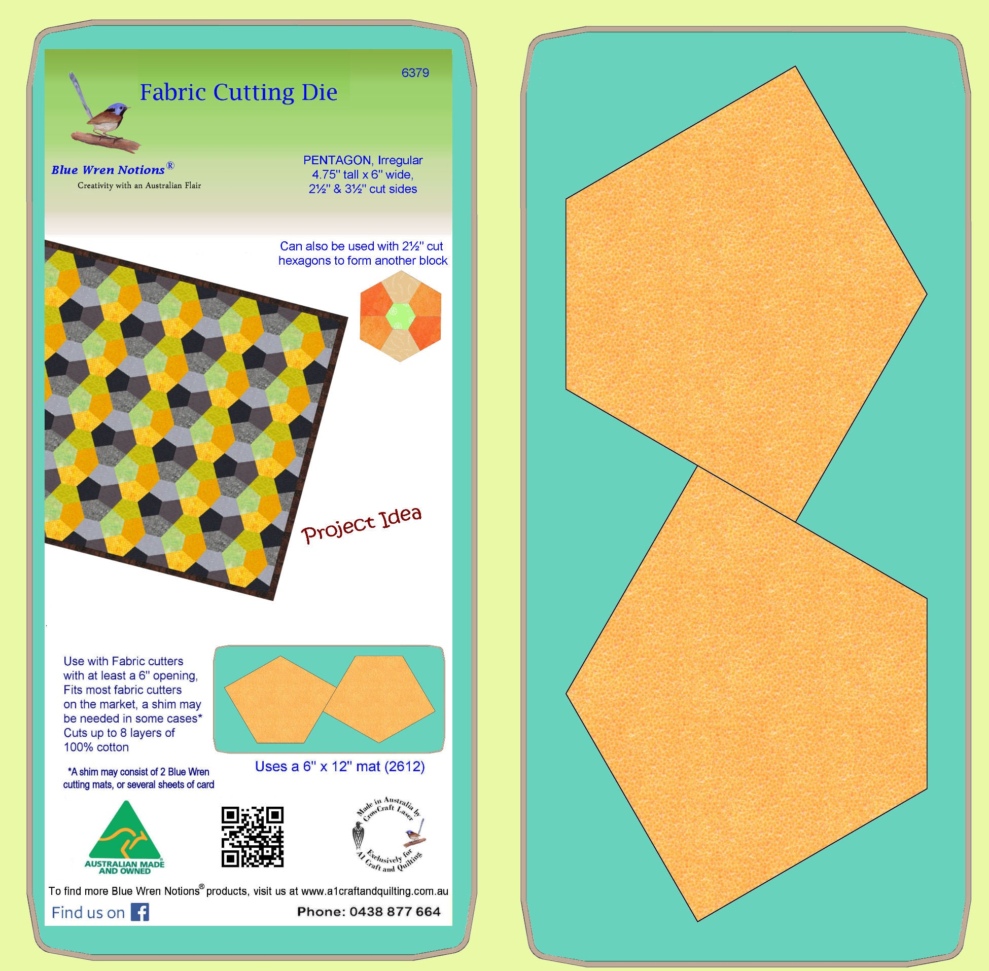 "Pentagons, Irregular 4¾"" Tall, 6"" wide, 2½ and 3½"" cut sides 6379 - Includes cutting Mat"