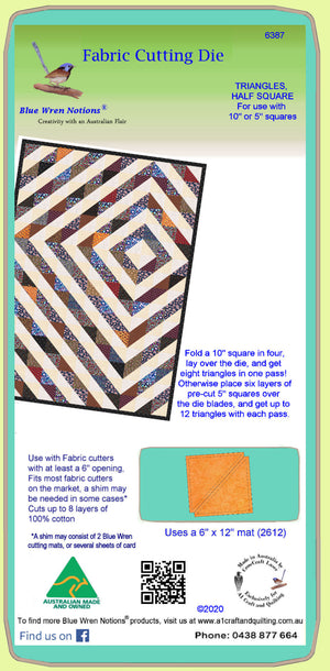 "Triangle, Half Square 4½"" cut, 4"" finished - 6387, for 10"" or 5"" squares - Mat (2612) included."