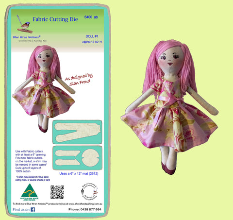 "Doll #1, designed by Sian Froud, approx 12 1/2"" tall - 6400ab, 2 die set - includes cutting mat"