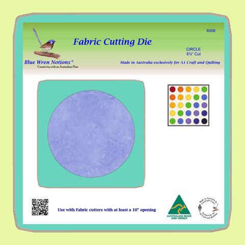 "Circle 8½"" Cut - BlueWren Notions Cutting Die - 6506- includes cutting mat"