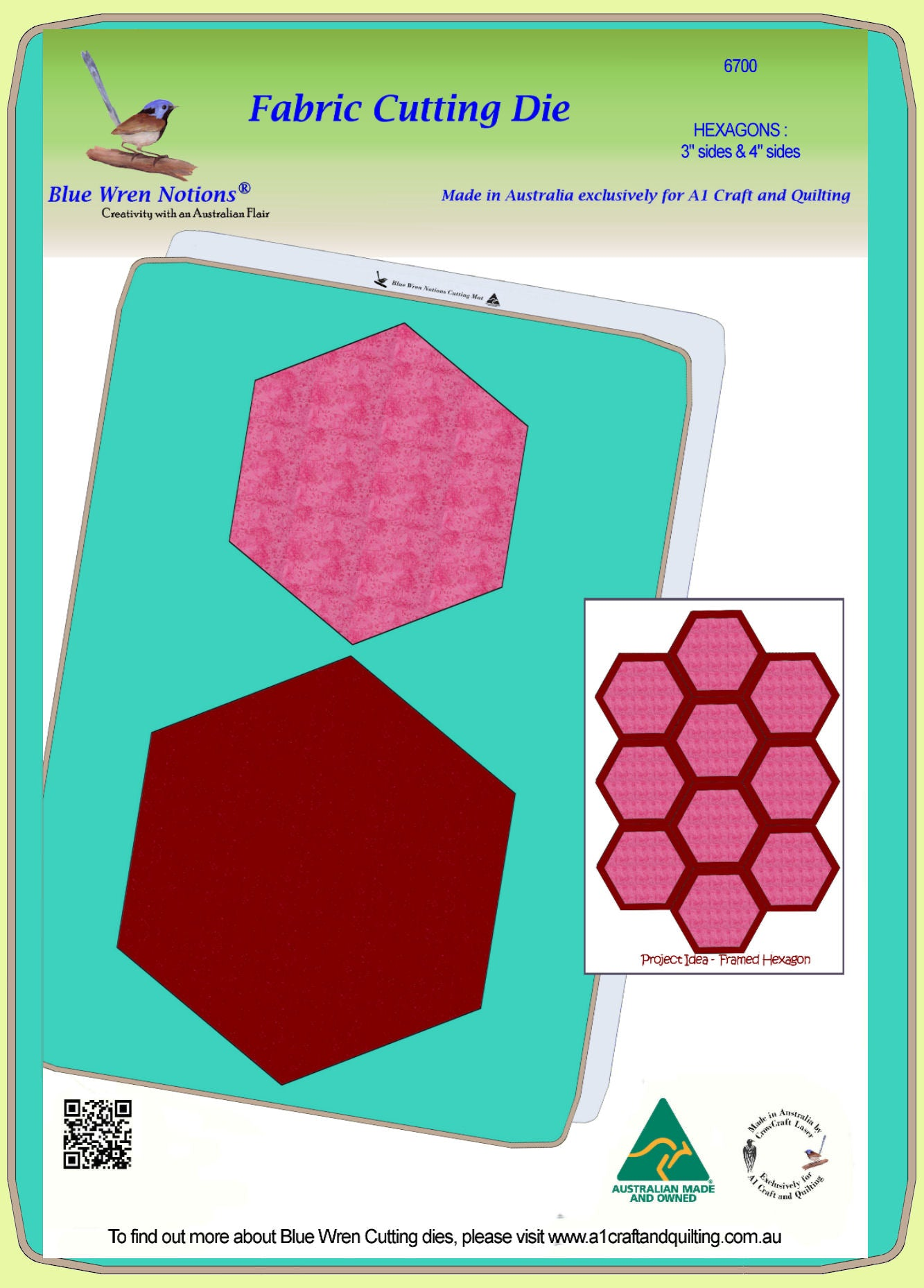 "Hexagon Set, 3"" and 4"" cut sides combo for framed hexagons - 6700"