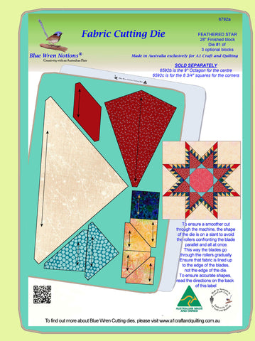 "Feathered Star - 6792a- makes a 28"" block - pattern instructions and mat included"