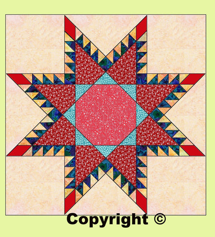 "Square 8 3/4"" cut (for Feathered Star 6972a) -  6592c - mat included"