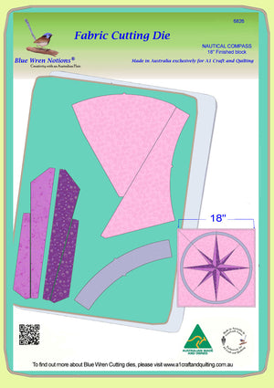 "Nautical Compass - 6826 - makes an 18"" block - pattern instructions and mat included"