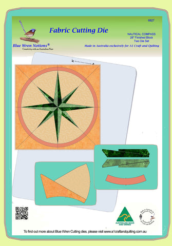 "Nautical Compass - 6827 - makes an 24"" block - Two die Set - pattern instructions and mat included"