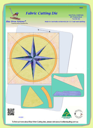 "Nautical Compass - 6828 - makes an 28"" block - Two die Set - pattern instructions and mat included"