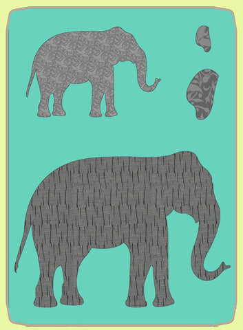"Elephants, approx 7¼"" x 10"" and 4¼"" x 6¼"" - 6830 - Mat included"