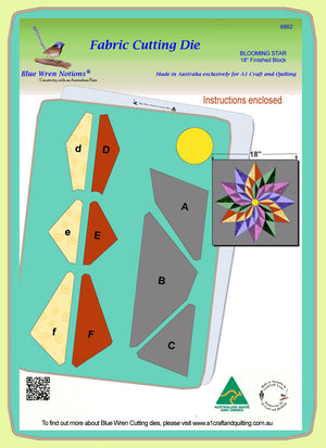 "Blooming Star - 6862- makes an 18"" block - pattern instructions and mat included"
