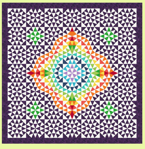 "Morning Star - 6866 - makes a 12"" finished block - Pattern, design layout and mat included"