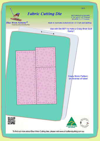 "Rectangles 9""x 3"", 6"" x 3"" and Square 3"" x 3"" finished - 6870 - Mat and Pattern included"
