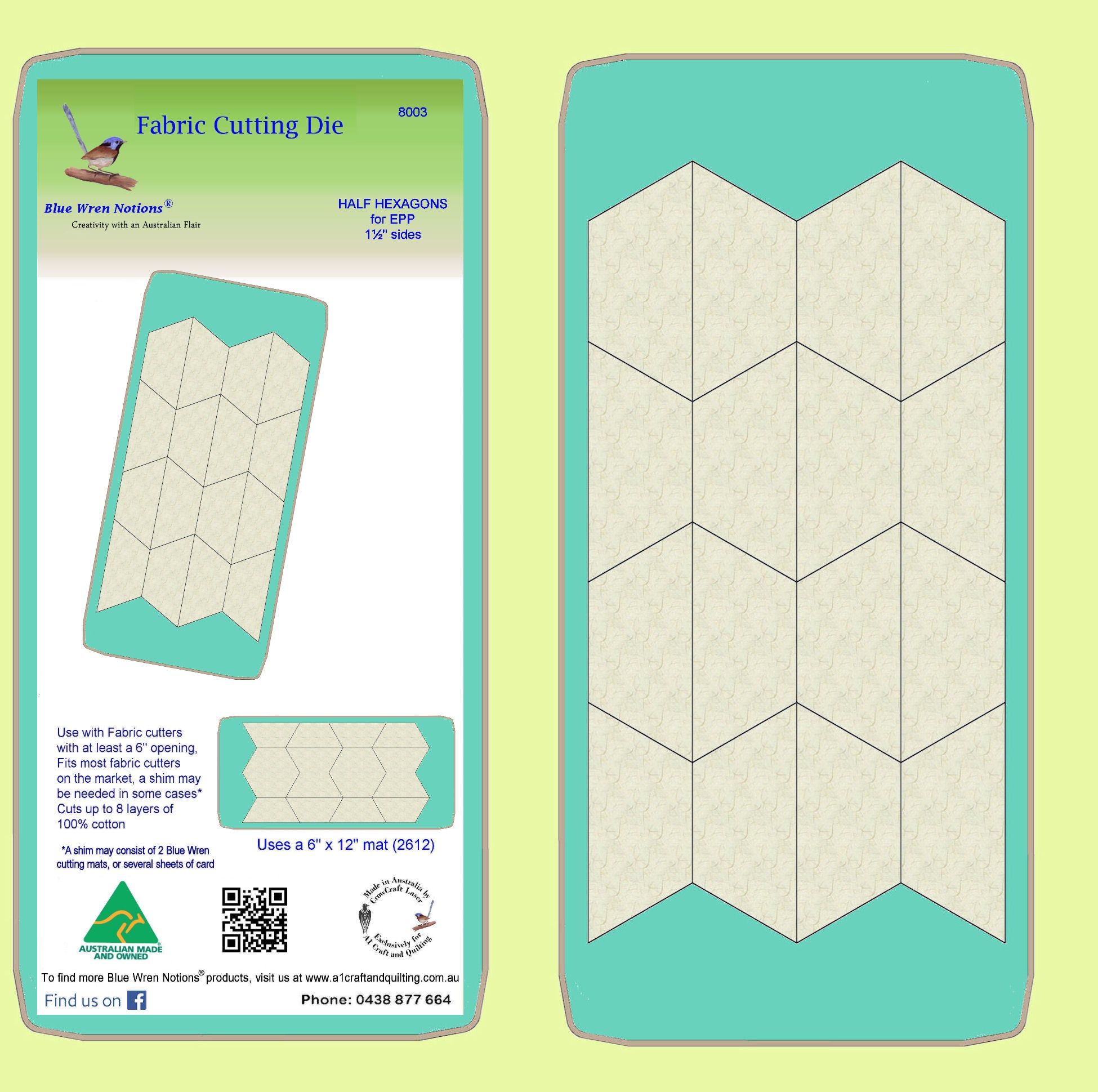 "Half Hexagons for Paper piecing templates 1½"" cut sides - includes cutting mat"