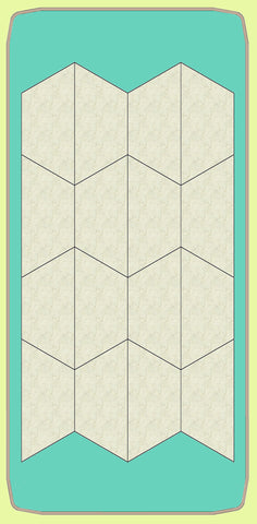 "Half Hexagons for Paper piecing templates 1½"" inch finished sides - 8003 - includes cutting mat"