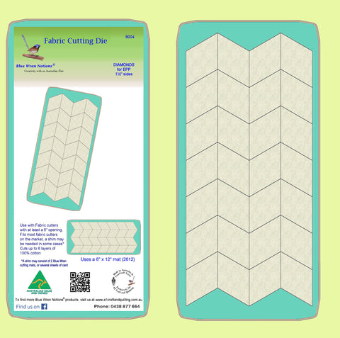 "Diamonds 60 degree, for Paper piecing 1½"" inch finished sides - 8004 - includes cutting mat"