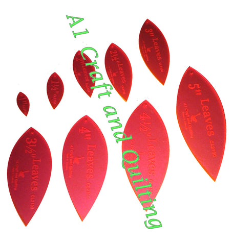"Leaves 1"" to 5"" Acrylic Template  CL2130"