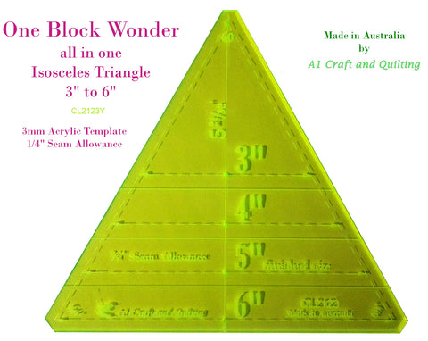 "One Block Wonder / Kaleidoscope Template. 60degree Isoceles, variable 3"" to 6"""