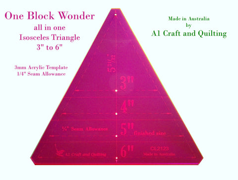 "One Block Wonder / Kaleidoscope Template. 60 degree Isosceles, variable 3"" to 6"""