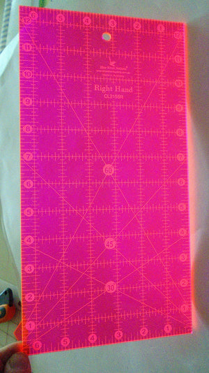 "Ruler, Quilting - left or right handed -  6 1/2"" x 12 1/2"" with degrees marked"