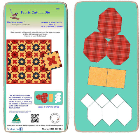 "Hexagons, 90 degree (POTC) with 1"" squares, - 6021 - includes cutting mat"