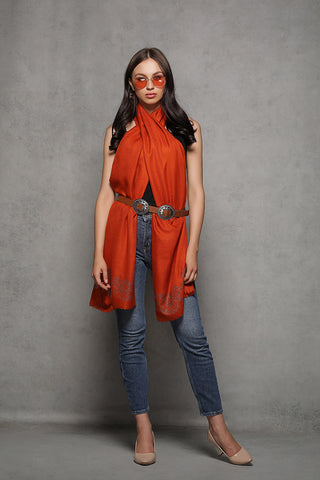 Burnt Orange Rhinestone Cashmere Wrap - The Pashm
