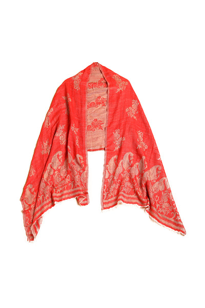 Two Tone Zari Floral Wrap - The Pashm