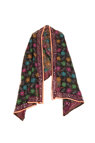 Floral Handmade Mirror Border Phulkari - The Pashm