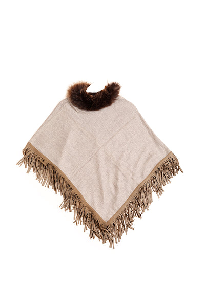 Patterned Suede Fringe Faux-Fur Poncho - The Pashm