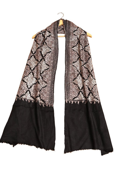 Black Embroidered Pashmina Stole