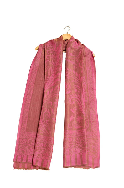 Two Tone Zari Floral Cashmere Pashmina Shawl- The Pashm