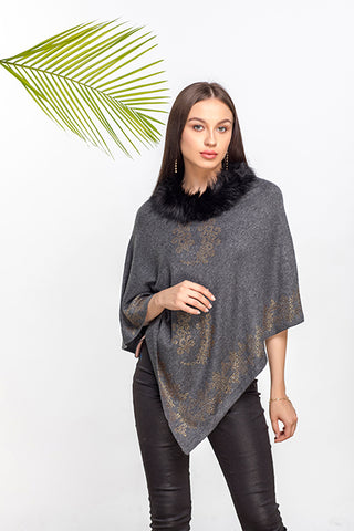 Rhinestone Pattern & Border Poncho - The Pashm