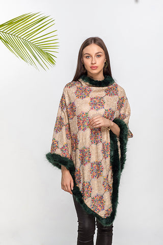Moroccon Pattern Faux Fur Poncho - The Pashm