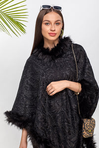 Embroidered Faux Fur Poncho - The Pashm