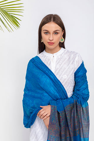 Paisley And Floral Kani Border Wrap - The Pashm