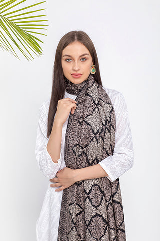 Black Embroidered Pashmina Stole - The Pashm