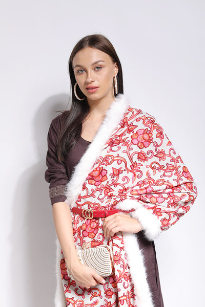 Floral Embellished Faux-Fur Wrap - The Pashm