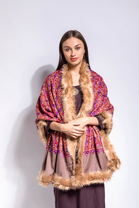 Multicolor Rustic Faux Fur Pashmina Shawl /Wrap - The Pashm