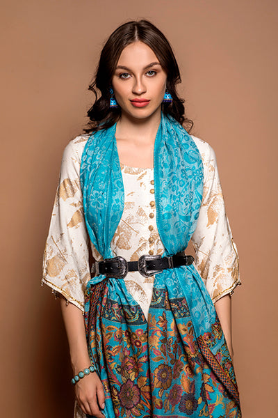 Azure Blue Floral Kani Border Pashmina Wrap - The Pashm