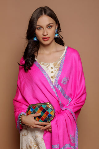 Daur Border Embroidery Neon Cashmere Wrap - The Pashm
