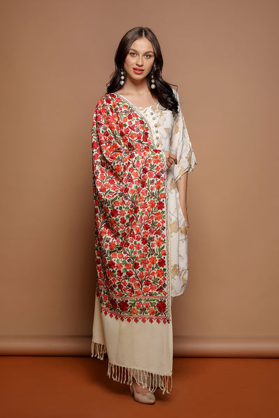 Multicolor Flower Embroidery - The Pashm
