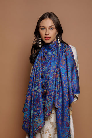 Floral Blue Kani - The Pashm