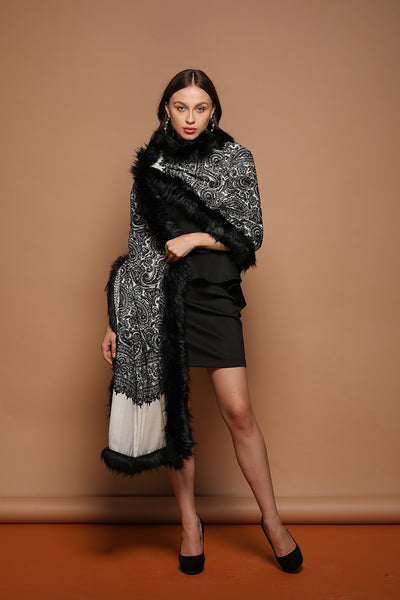 Embellished Embroidery Faux Fur Cashmere Wrap - The Pashm