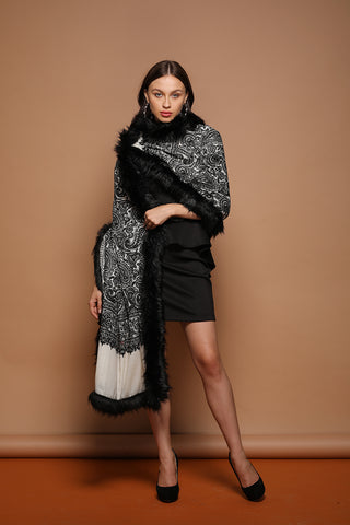Embellished Embroidery Faux Fur Pashmina Shawl - The Pashm