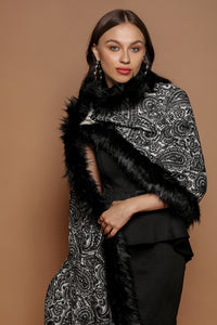 Embellished Embroidery Faux-Fur Wrap - The Pashm