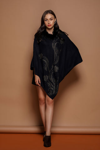 Flower Rhinestone Poncho - The Pashm