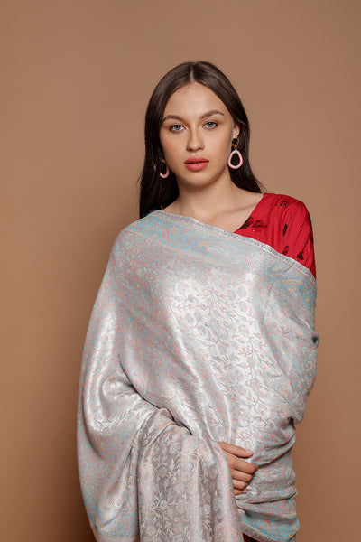 Ice Blue Damask Silver Wrap - The Pashm