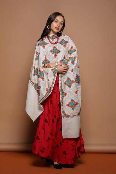 Diamond Pattern Embroidered Wrap - The Pashm