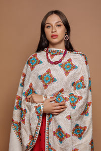 Diamond Pattern Embroidered Pashmina Shawl - The Pashm