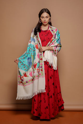 Peacock Embroidered Cashmere Stole - The Pashm