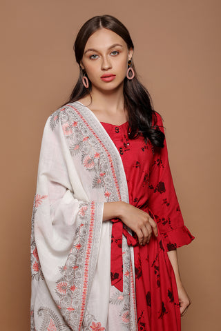 Betel Leaf Premium Embroidered Pashmina Stole - The Pashm